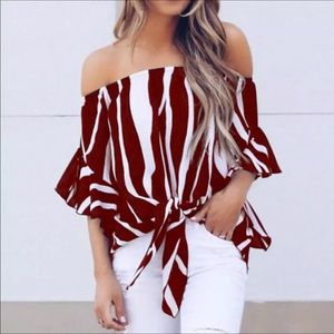 Tops - Sexy ladies striped off the shoulder blouse L